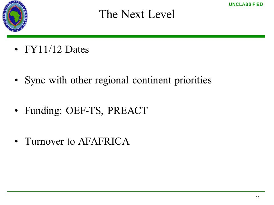 The Next Level FY11/12 Dates