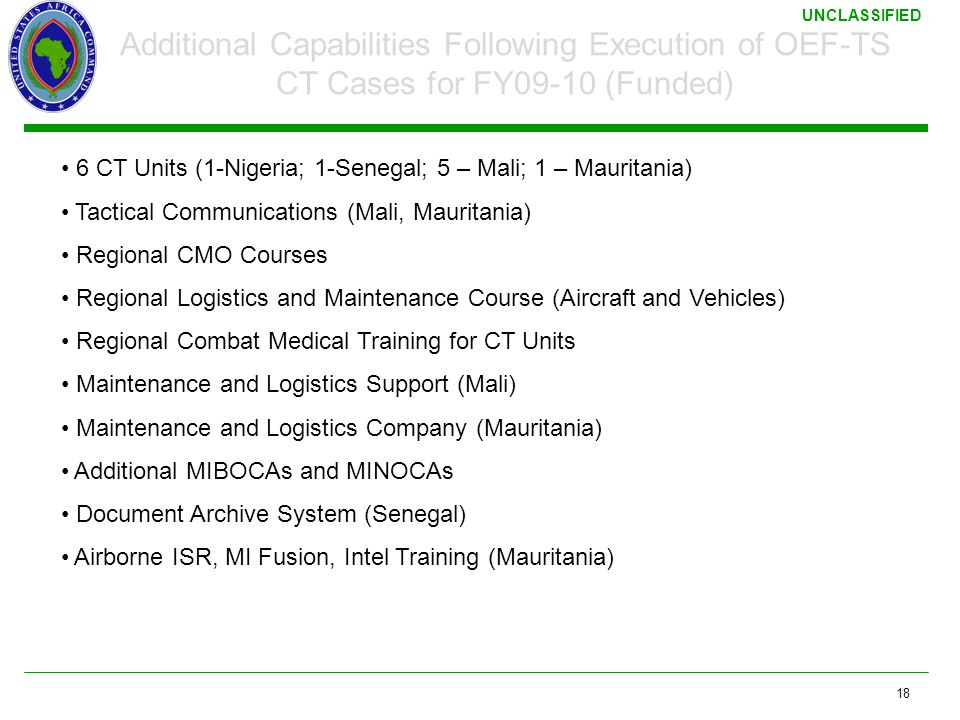 3/17/2011 Additional Capabilities Following Execution of OEF-TS CT Cases for FY09-10 (Funded)