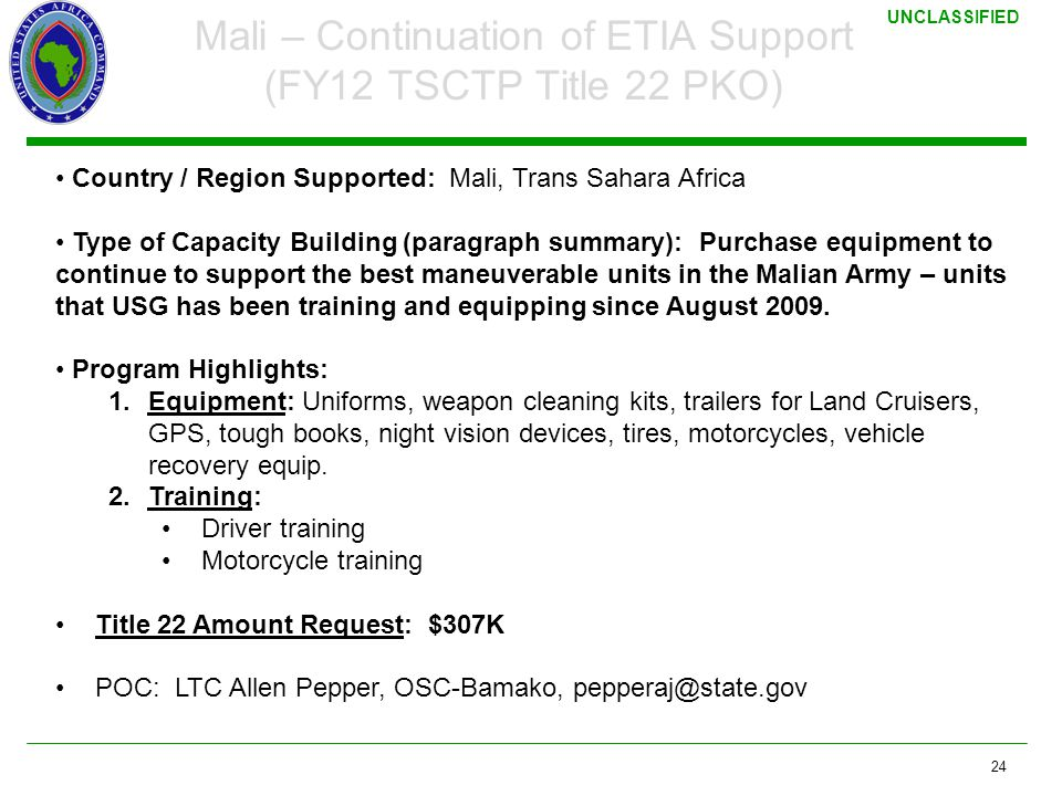 Mali – Continuation of ETIA Support (FY12 TSCTP Title 22 PKO)