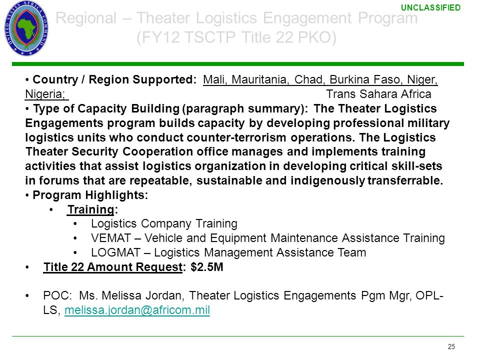 3/17/2011 Regional – Theater Logistics Engagement Program (FY12 TSCTP Title 22 PKO)