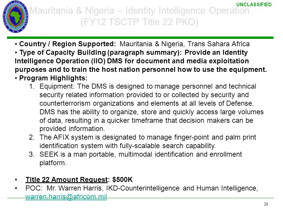 3/17/2011 Mauritania & Nigeria – Identity Intelligence Operation (FY12 TSCTP Title 22 PKO)