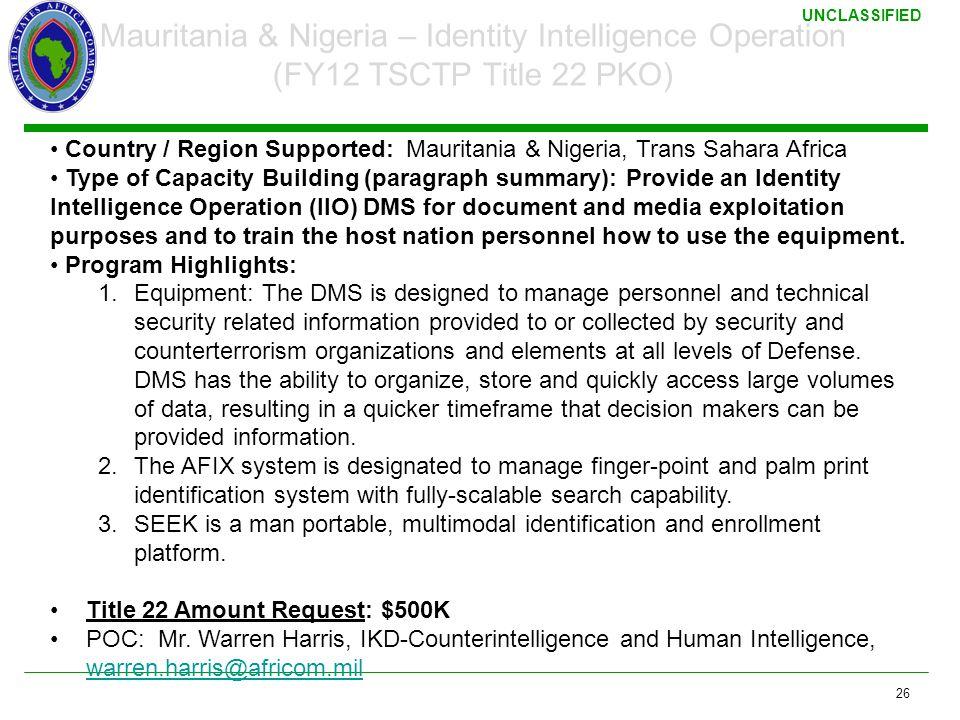 3/17/2011 Mauritania & Nigeria – Identity Intelligence Operation (FY12 TSCTP Title 22 PKO)