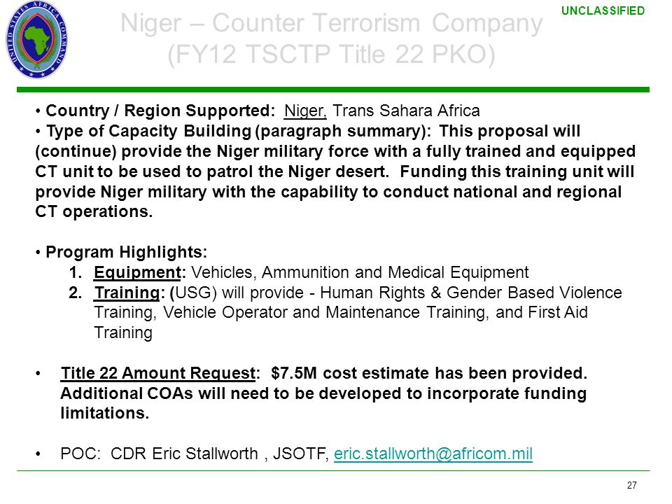 Niger – Counter Terrorism Company (FY12 TSCTP Title 22 PKO)