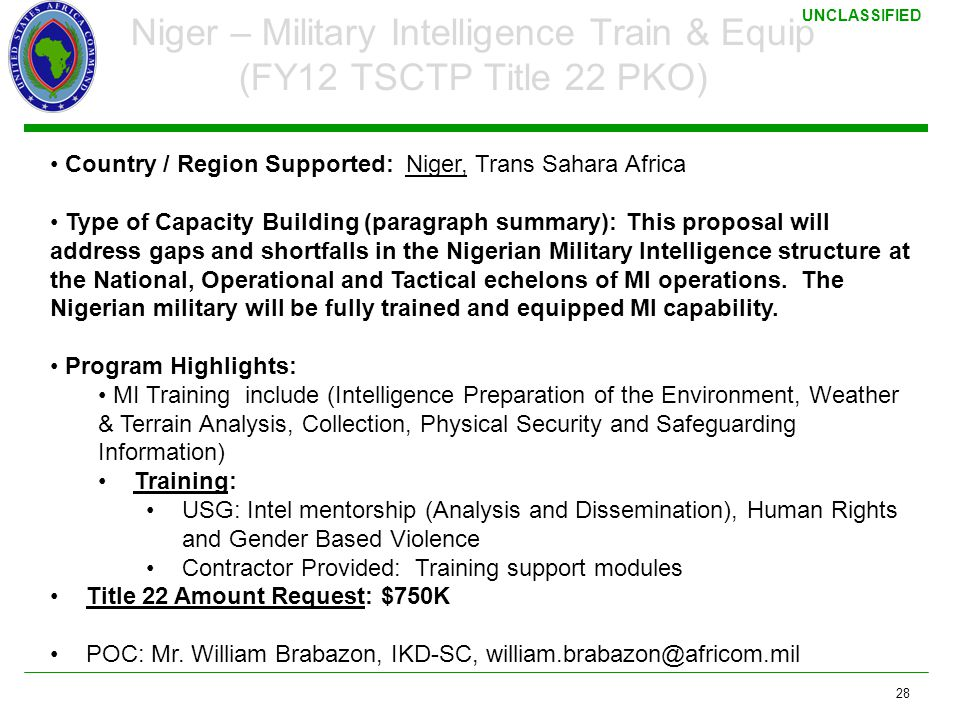 Niger – Military Intelligence Train & Equip (FY12 TSCTP Title 22 PKO)