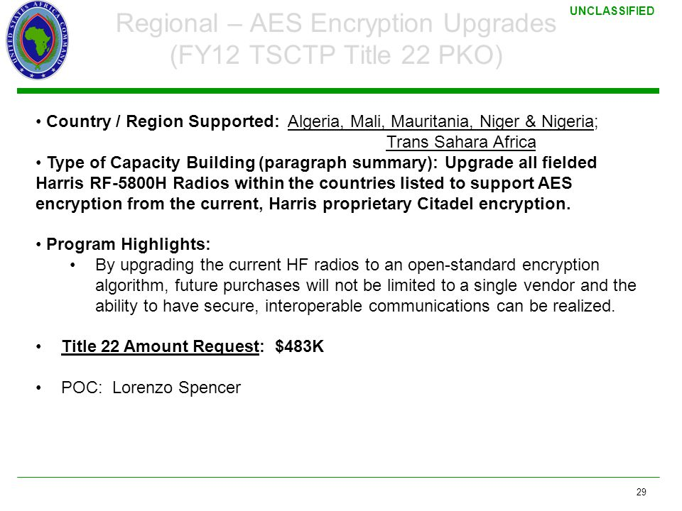 Regional – AES Encryption Upgrades (FY12 TSCTP Title 22 PKO)