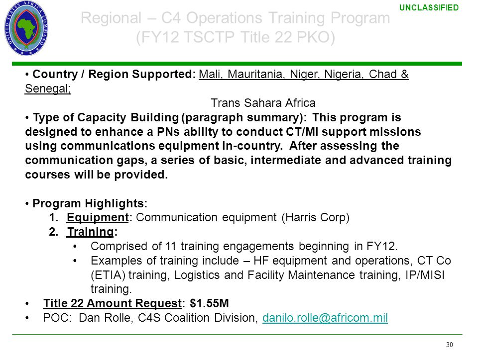 Regional – C4 Operations Training Program (FY12 TSCTP Title 22 PKO)