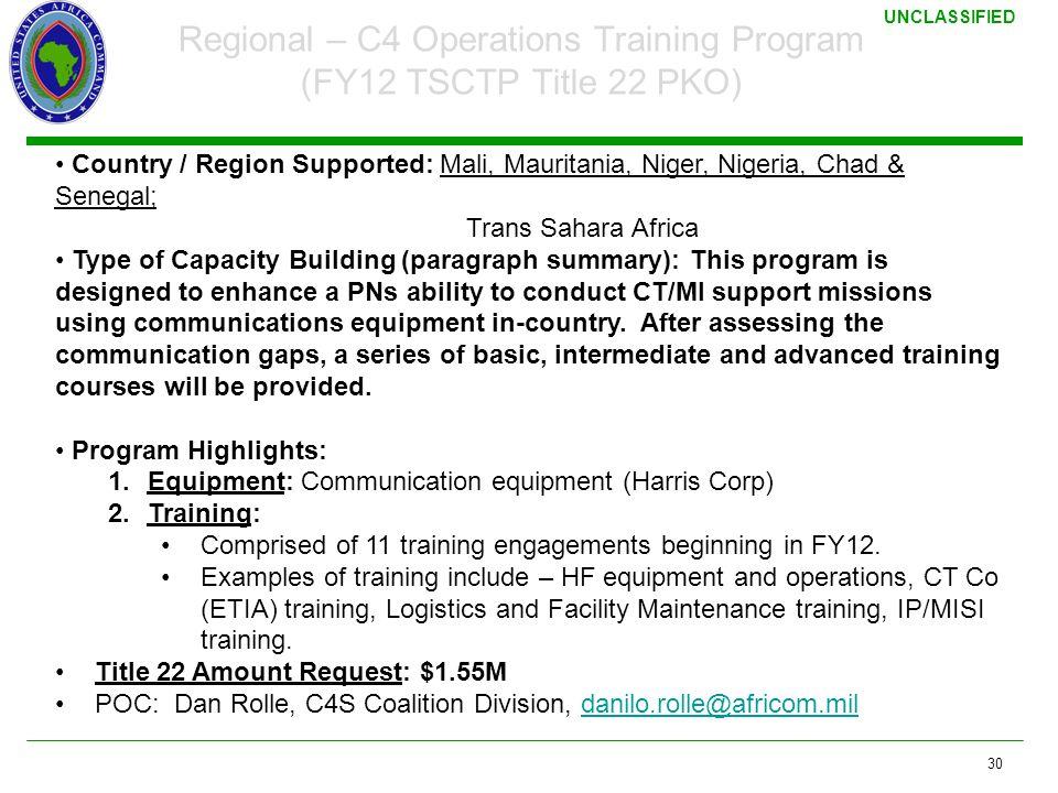 Regional – C4 Operations Training Program (FY12 TSCTP Title 22 PKO)