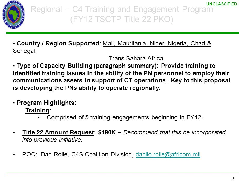 3/17/2011 Regional – C4 Training and Engagement Program (FY12 TSCTP Title 22 PKO)