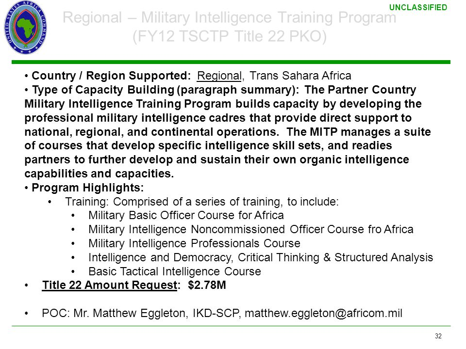 3/17/2011 Regional – Military Intelligence Training Program (FY12 TSCTP Title 22 PKO) Country / Region Supported: Regional, Trans Sahara Africa.