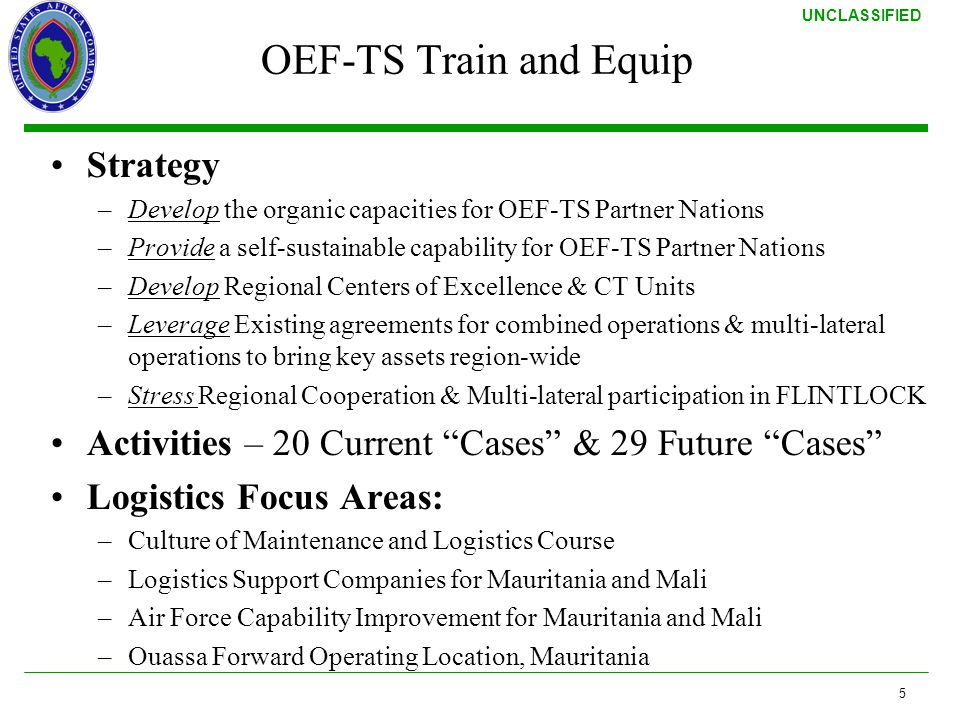 OEF-TS Train and Equip Strategy
