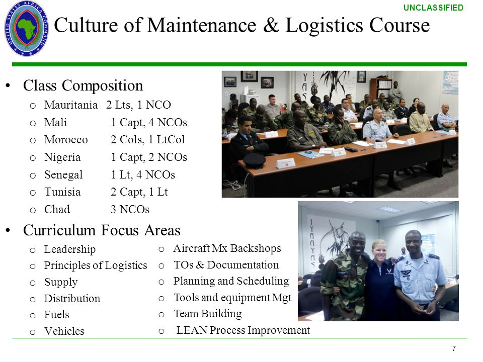 Culture of Maintenance & Logistics Course