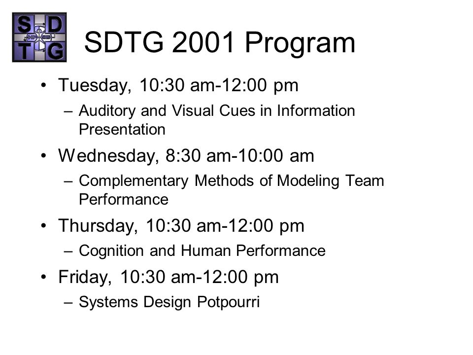 SDTG 2001 Program Tuesday, 10:30 am-12:00 pm