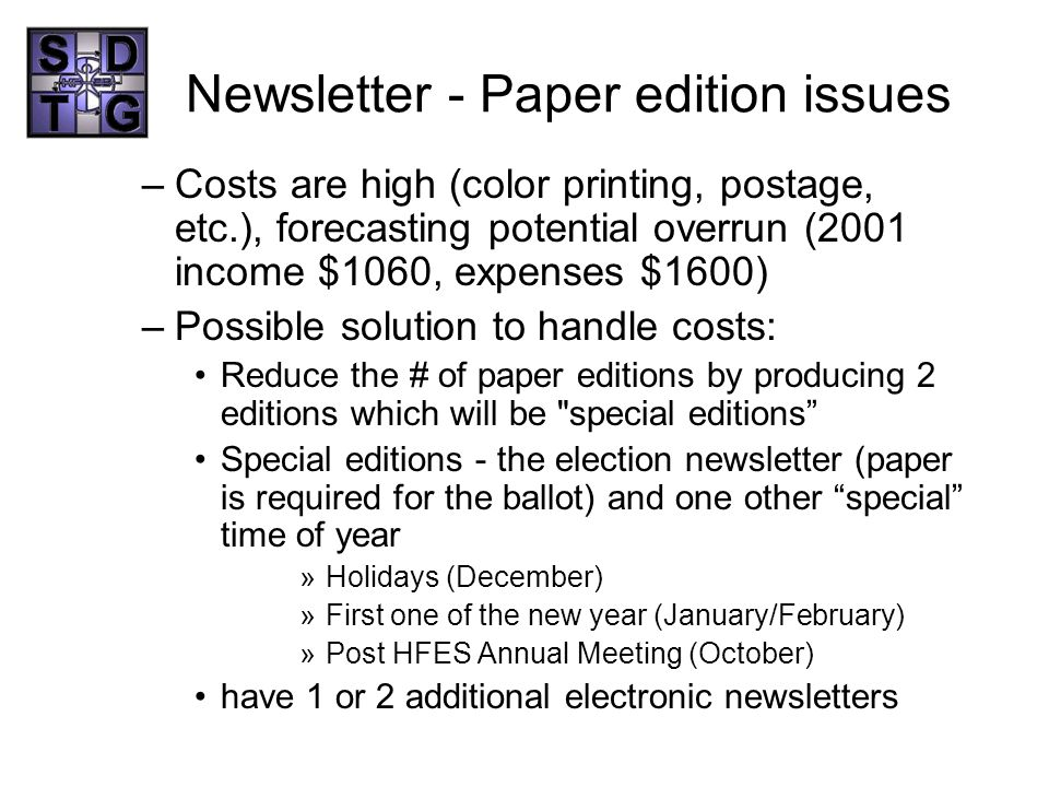 Newsletter - Paper edition issues