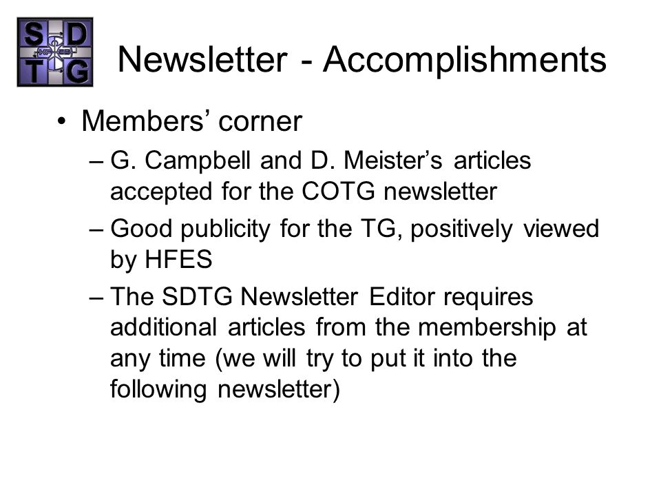 Newsletter - Accomplishments