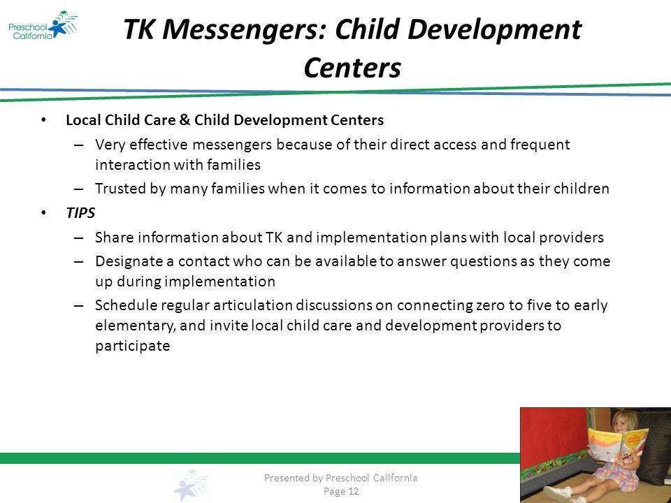 TK Messengers: Child Development Centers