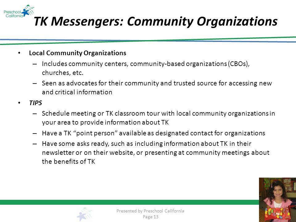 TK Messengers: Community Organizations