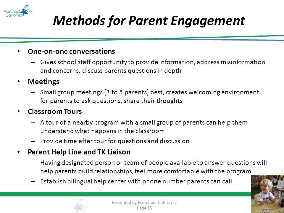 Methods for Parent Engagement