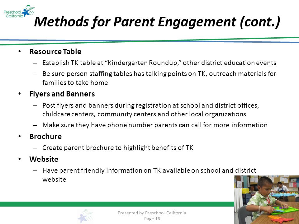 Methods for Parent Engagement (cont.)