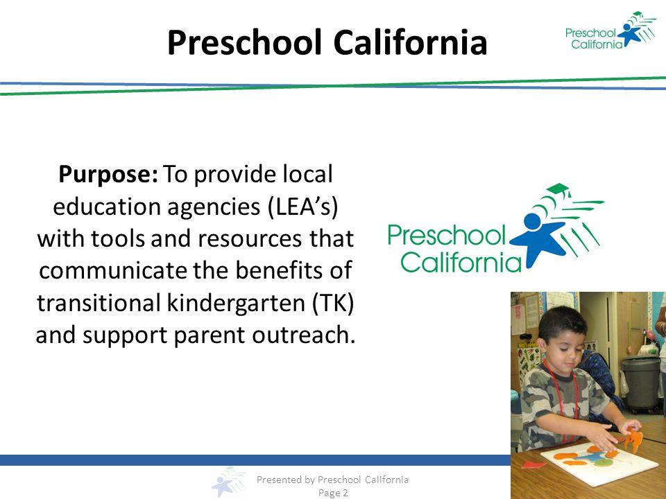 Presented by Preschool California Page 2