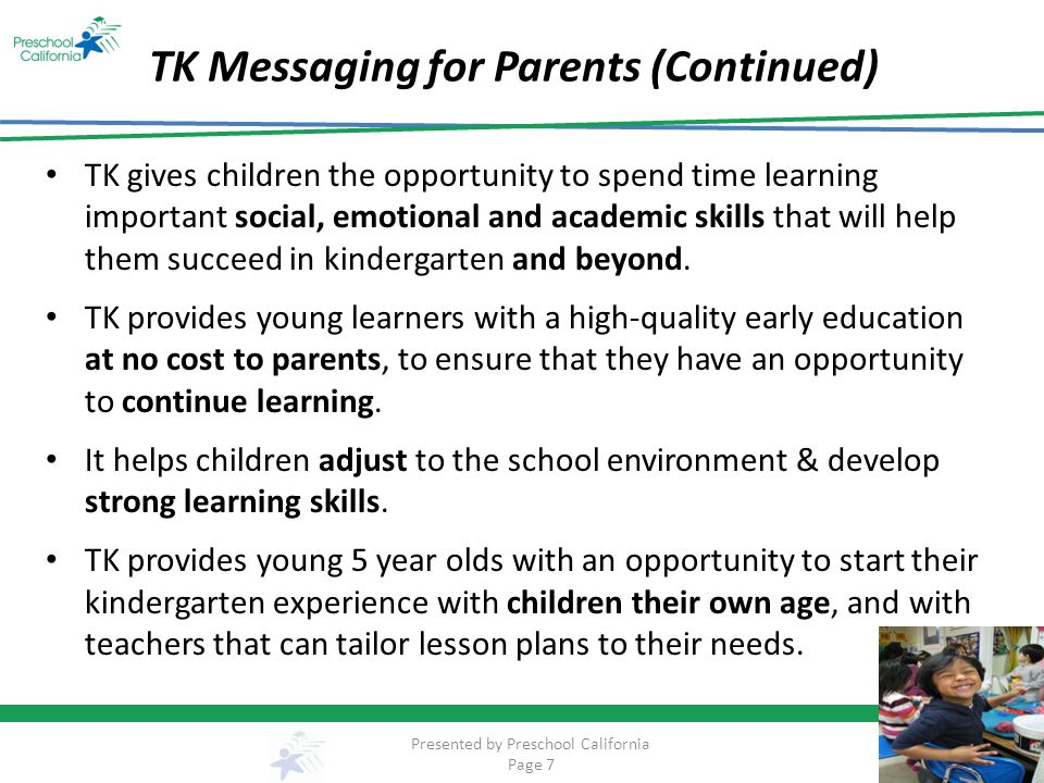 TK Messaging for Parents (Continued)