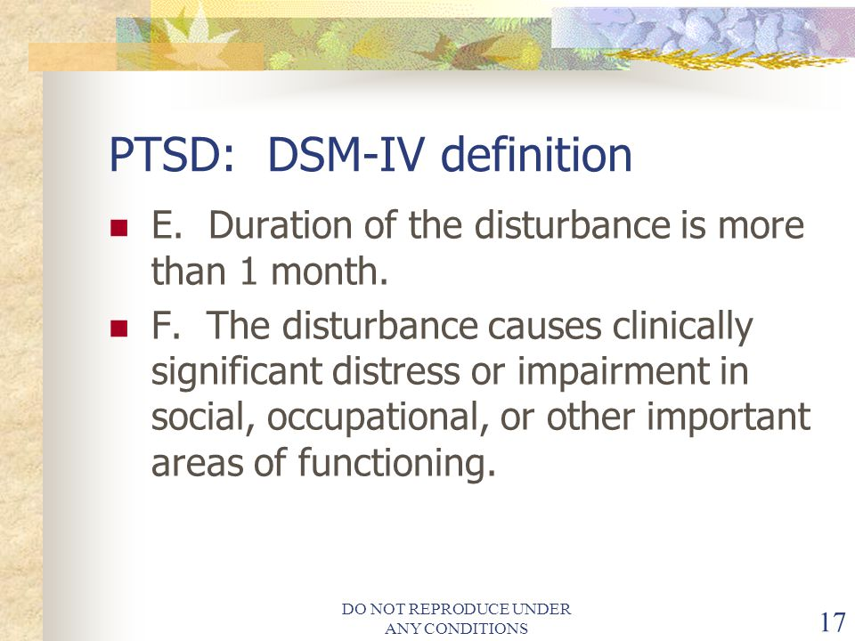 PTSD: DSM-IV definition