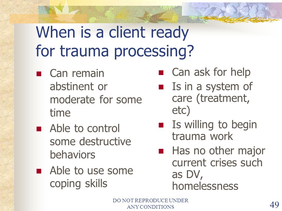 When is a client ready for trauma processing