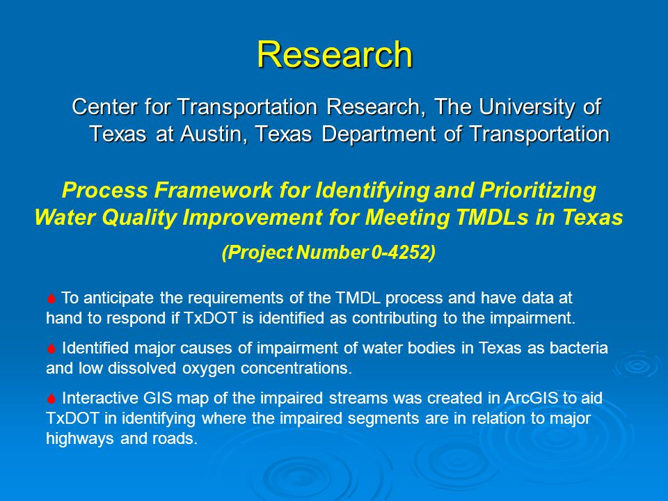 Research Center for Transportation Research, The University of Texas at Austin, Texas Department of Transportation.