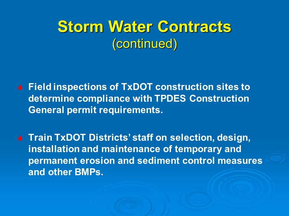 Storm Water Contracts (continued)