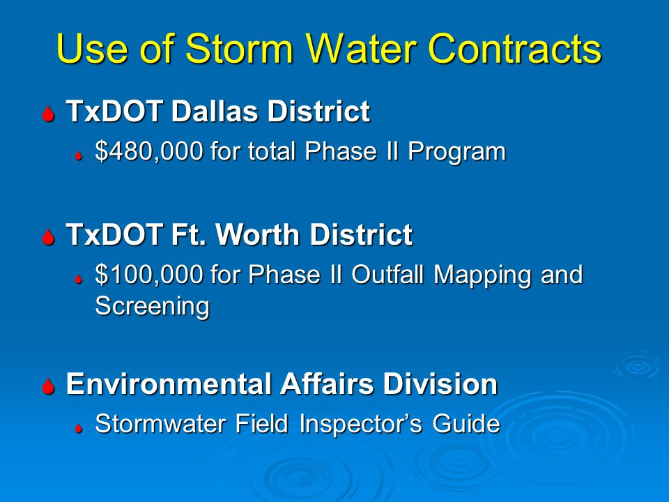 Use of Storm Water Contracts