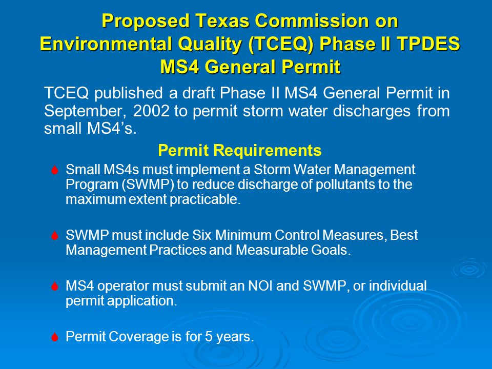 Proposed Texas Commission on Environmental Quality (TCEQ) Phase II TPDES MS4 General Permit