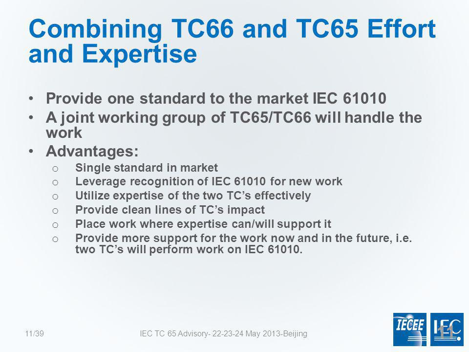 Combining TC66 and TC65 Effort and Expertise