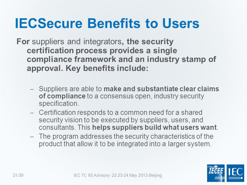IECSecure Benefits to Users