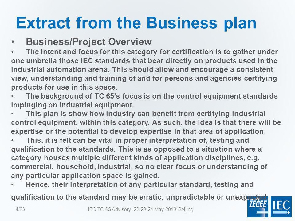Extract from the Business plan