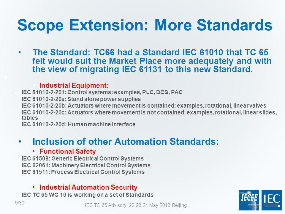 Scope Extension: More Standards