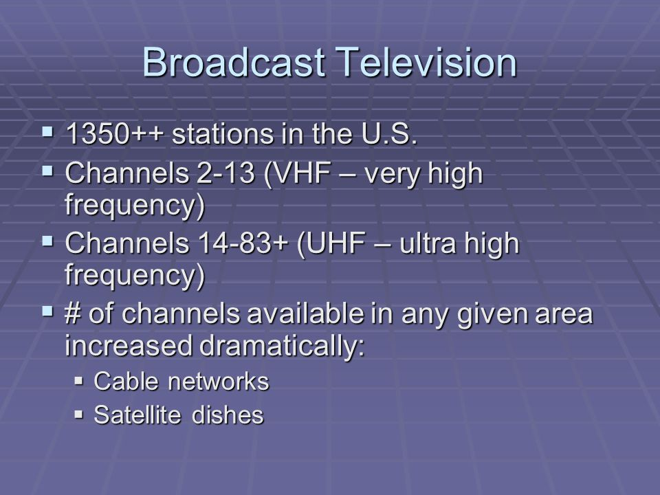 Broadcast Television 1350++ stations in the U.S.