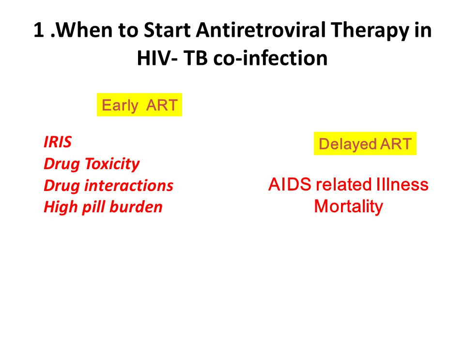 1 .When to Start Antiretroviral Therapy in HIV- TB co-infection