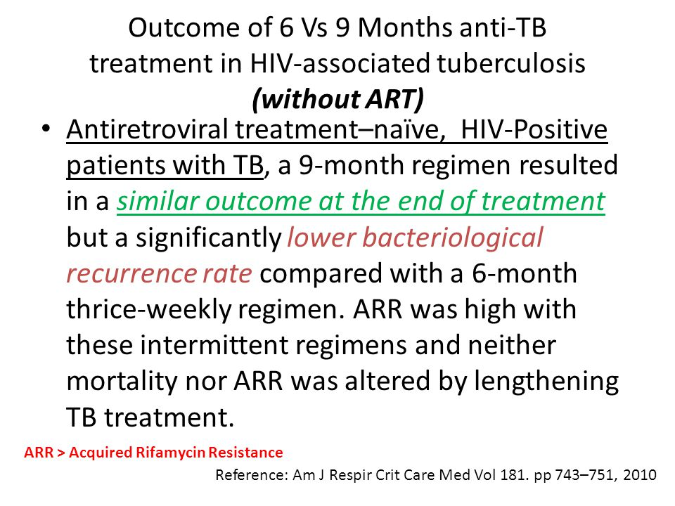 Outcome of 6 Vs 9 Months anti-TB treatment in HIV-associated tuberculosis (without ART)