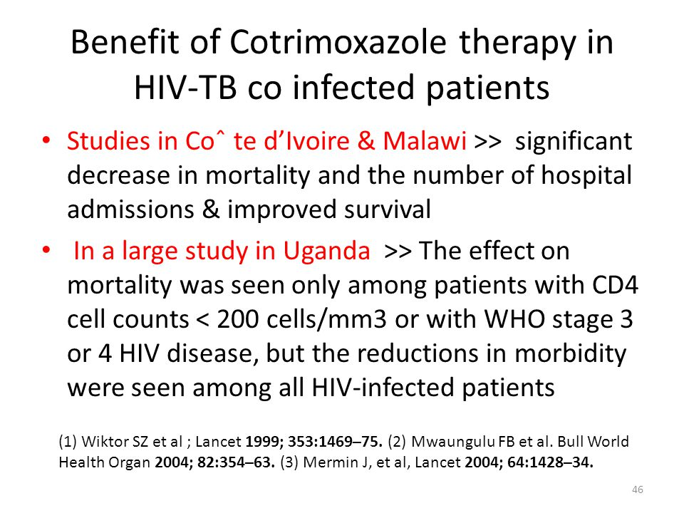 Benefit of Cotrimoxazole therapy in HIV-TB co infected patients