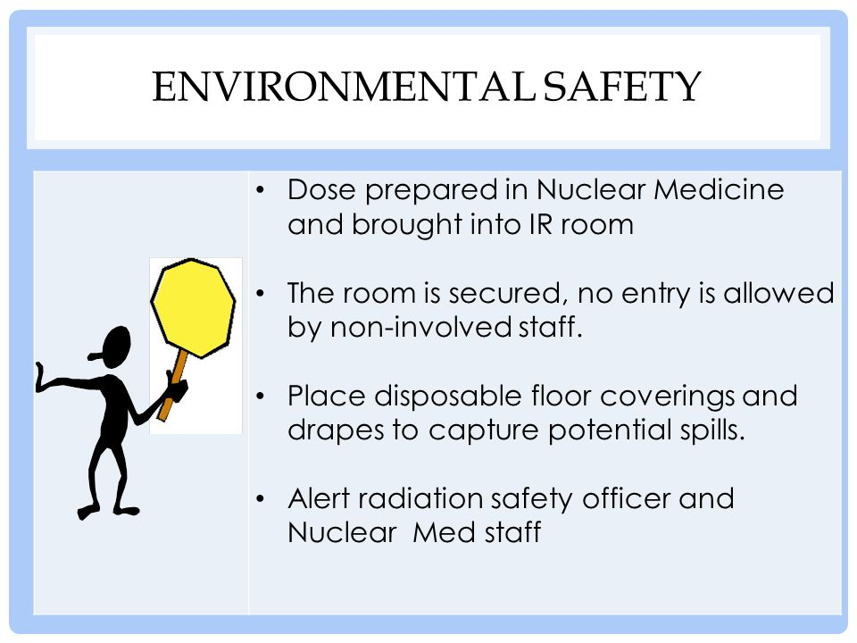Environmental safety Dose prepared in Nuclear Medicine and brought into IR room. The room is secured, no entry is allowed by non-involved staff.
