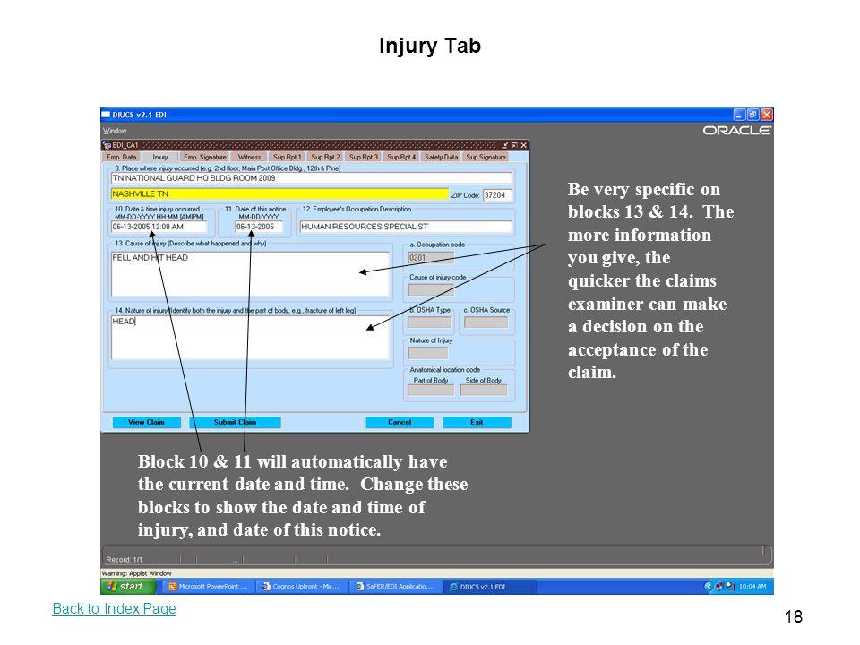 Injury Tab