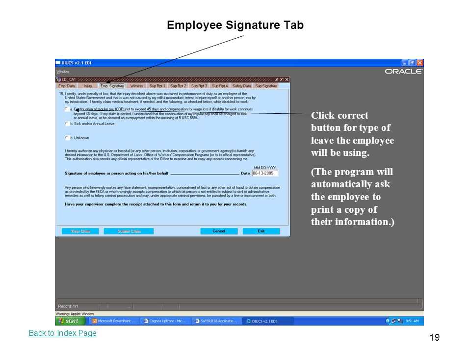 Employee Signature Tab