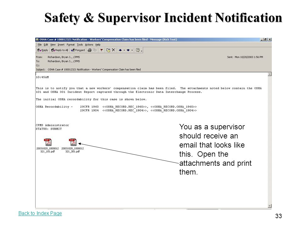 Safety & Supervisor Incident Notification