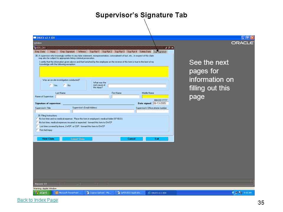 Supervisor's Signature Tab