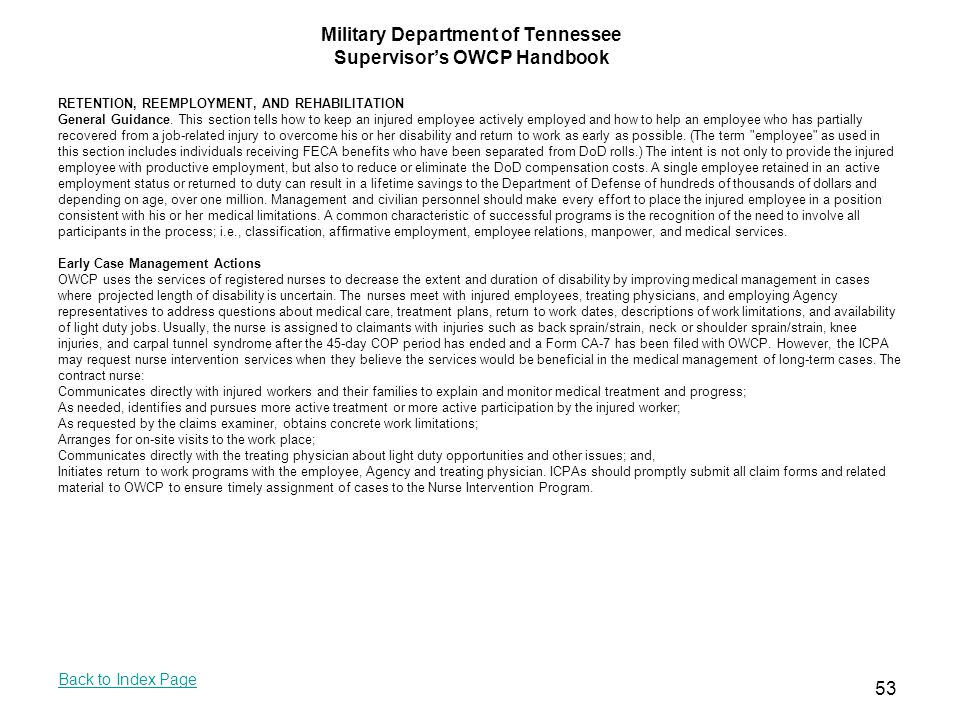 Military Department of Tennessee Supervisor's OWCP Handbook