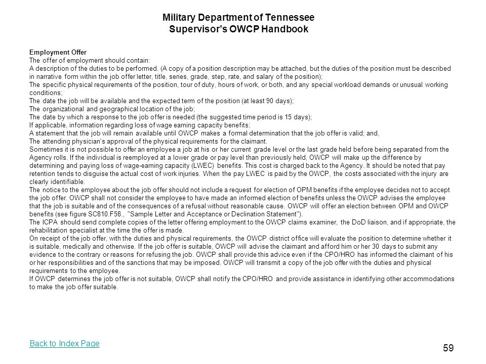 Military Department of Tennessee Supervisor's OWCP Handbook - ppt download
