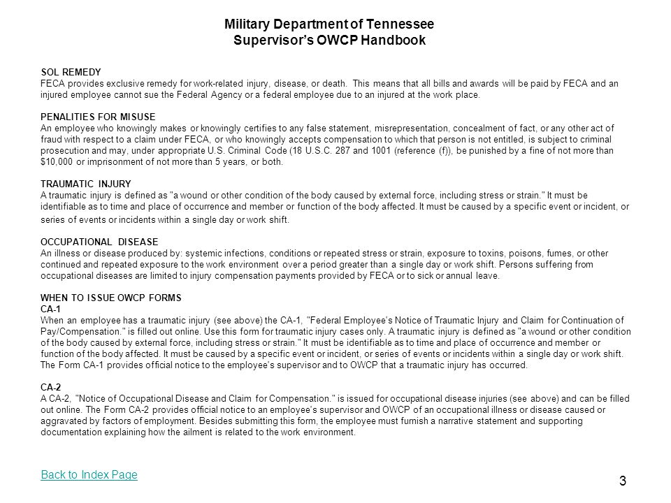 Military Department of Tennessee Supervisor's OWCP ...