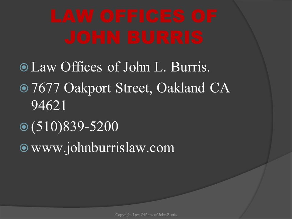 LAW OFFICES OF JOHN BURRIS