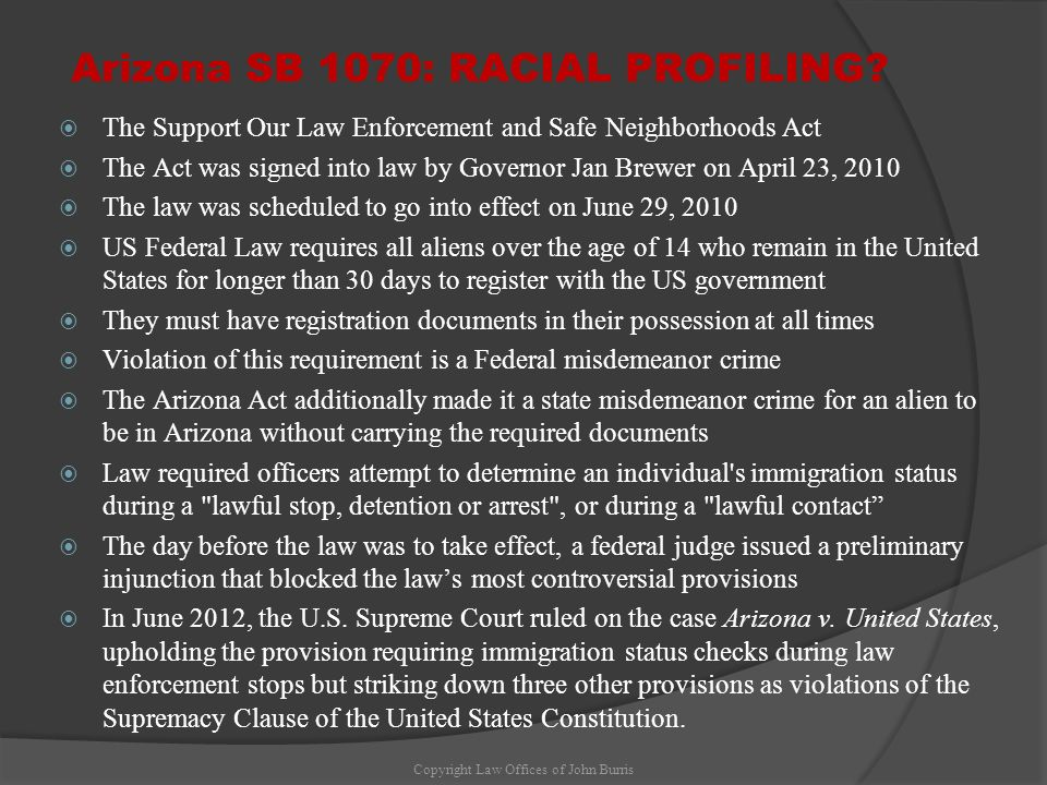 Arizona SB 1070: RACIAL PROFILING