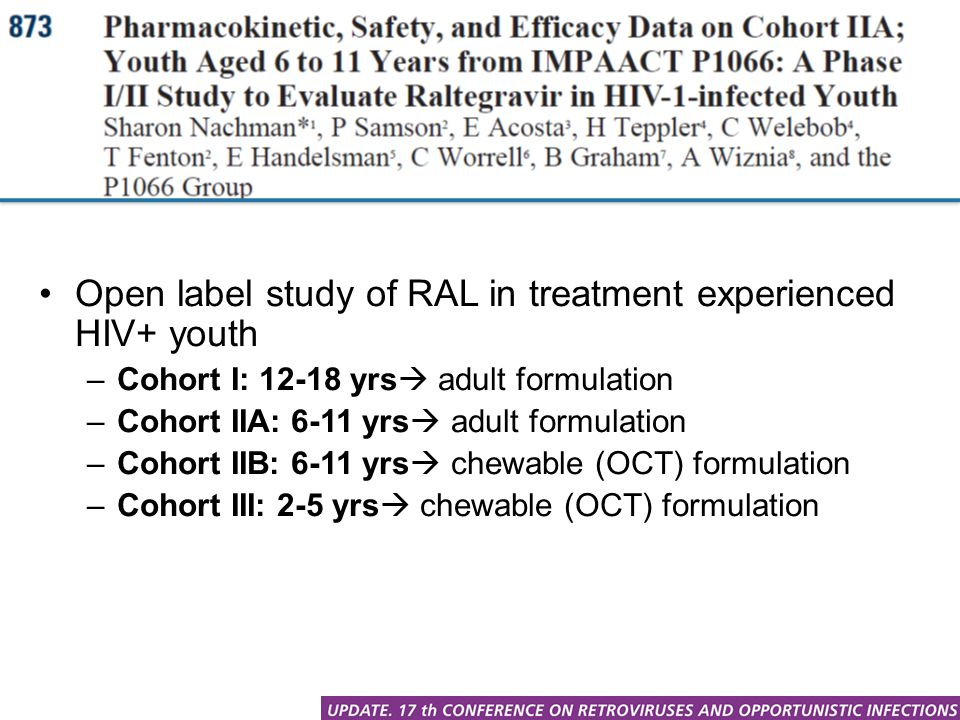 Open label study of RAL in treatment experienced HIV+ youth