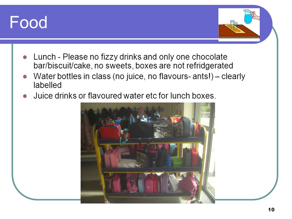 Food Lunch - Please no fizzy drinks and only one chocolate bar/biscuit/cake, no sweets, boxes are not refridgerated.